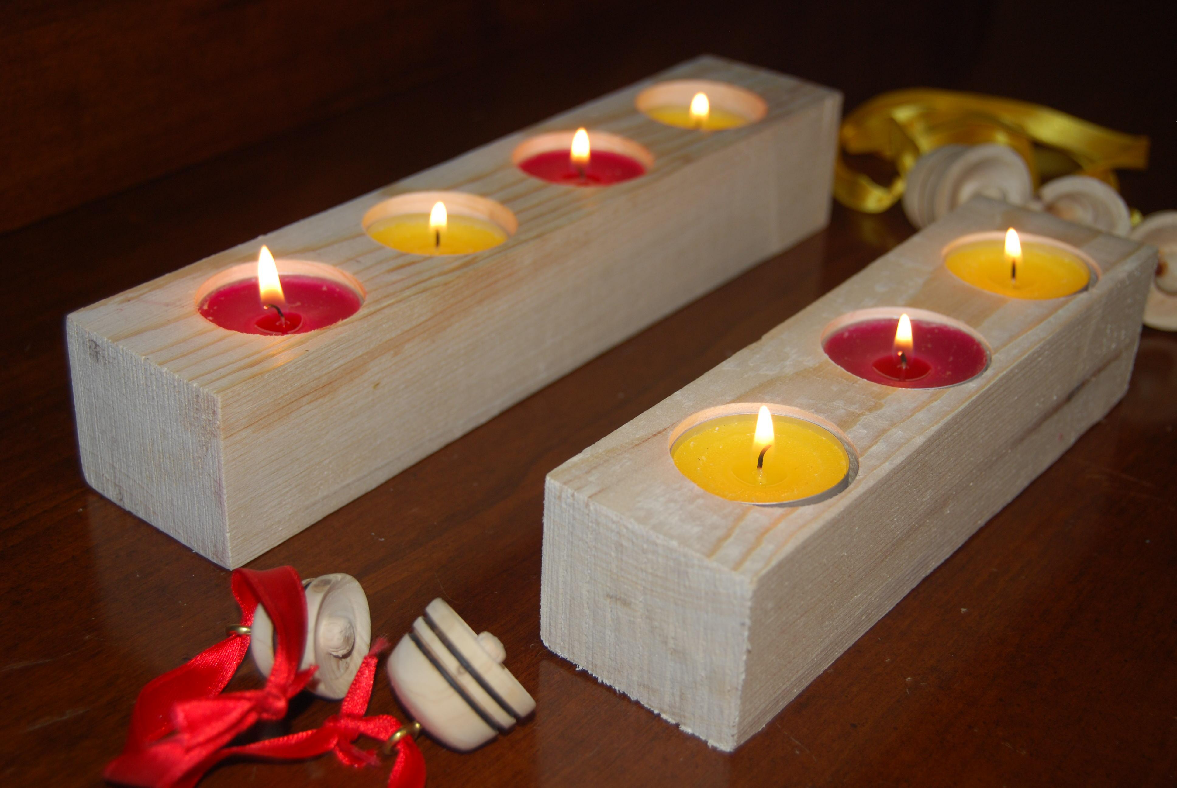 Porta candele in legno di abete