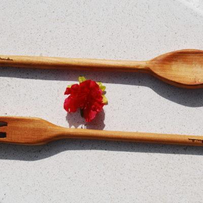 Mestoli in legno Forchettone e cucchiaio