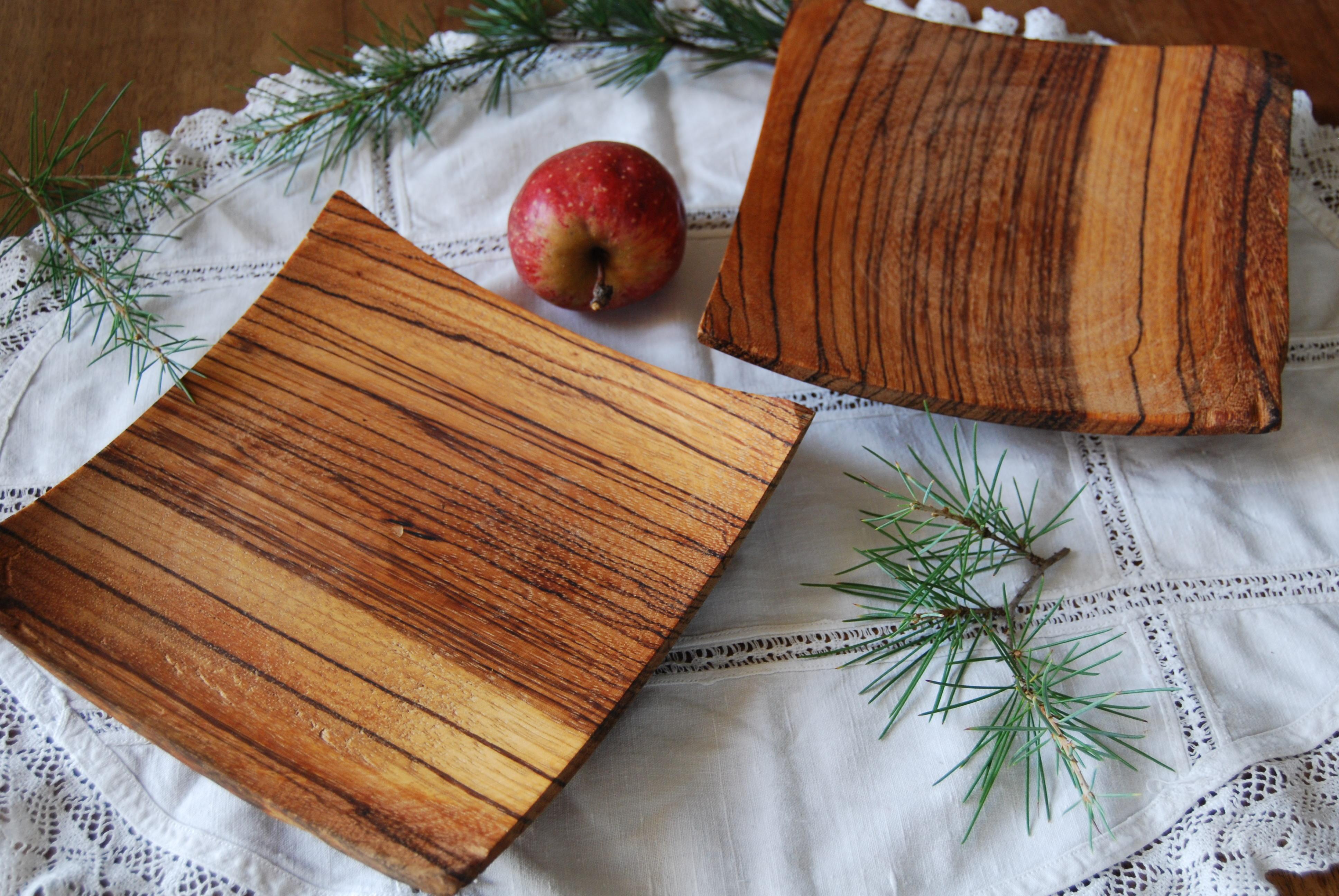 Finitura Legno Per Alimenti set di piatti in legno di zebrano